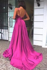 Simple A Line Spaghetti Straps V Neck Satin Backless Prom Dresses, Party SRS20443