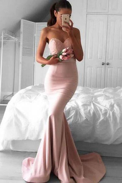 Stunning Sweetheart Sweep Train Pink Mermaid Prom Dress Lace PG348