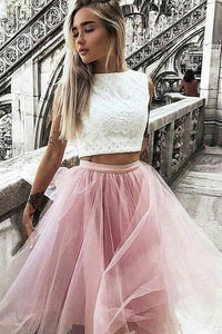 A-Line Tulle Bateau Lace Ivory Cap Sleeve Knee-Length Pink Two Piece Prom Dresses RS746