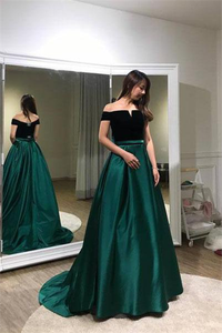 Unique A line Black And Green Long Elegant Off the Shoulder Satin Prom Dresses RS106