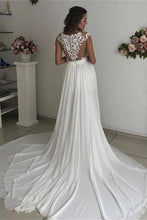 Load image into Gallery viewer, Formal Long Ivory Lace Chiffon Side Slit Cap Sleeve Cheap Beach Wedding Dresses RS107