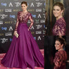 Elegant Long Sleeve Burgundy Beads High Neck with Pockets Satin Tulle Prom Dresses RS281