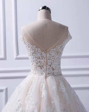 Load image into Gallery viewer, Unique A Line Lace Appliques Cap Sleeves Ivory V Neck Beads Wedding Dresses RS839