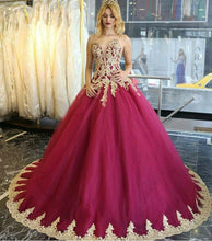 Load image into Gallery viewer, Long Quinceanera Dresses Wedding Dresses Tulle Prom Dresses with Appliques RS18