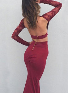 Burgundy Sexy Two Pieces Charming Backless Lace Long Sleeves Evening Dresses RS852