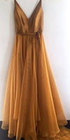 Spaghetti Strap A Line V Neck Formal Cheap Long Prom Dresses Evening Dresses RS360