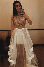 Load image into Gallery viewer, Sexy A-line Scoop Neck Tulle Beading Two Piece Halter Sleeveless Pink Prom Dresses RS635