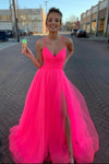 Modest Tulle V Neck Spaghetti Straps Pink Long Prom Dresses with SRS20428