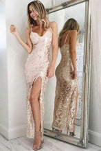 Load image into Gallery viewer, Sheath Spaghetti Straps Long Sparkly Open Back Simple Prom Dresses