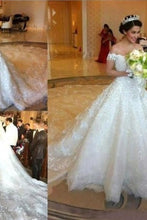 Load image into Gallery viewer, Amazing Off The Shoulder Ivory Lace Tulle Long Wedding Dresses Bridal Dresses