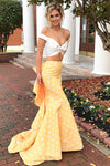 Pretty Ivroy And Yellow Long Mermaid Modest Prom Dresses Prom Gowns