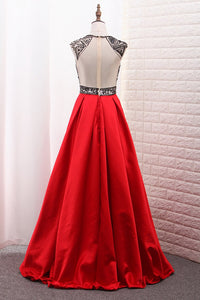 2019 A-Line Scoop Satin Prom Dresses Tulle Bodice Black Sequins Floor-Length With Pocket