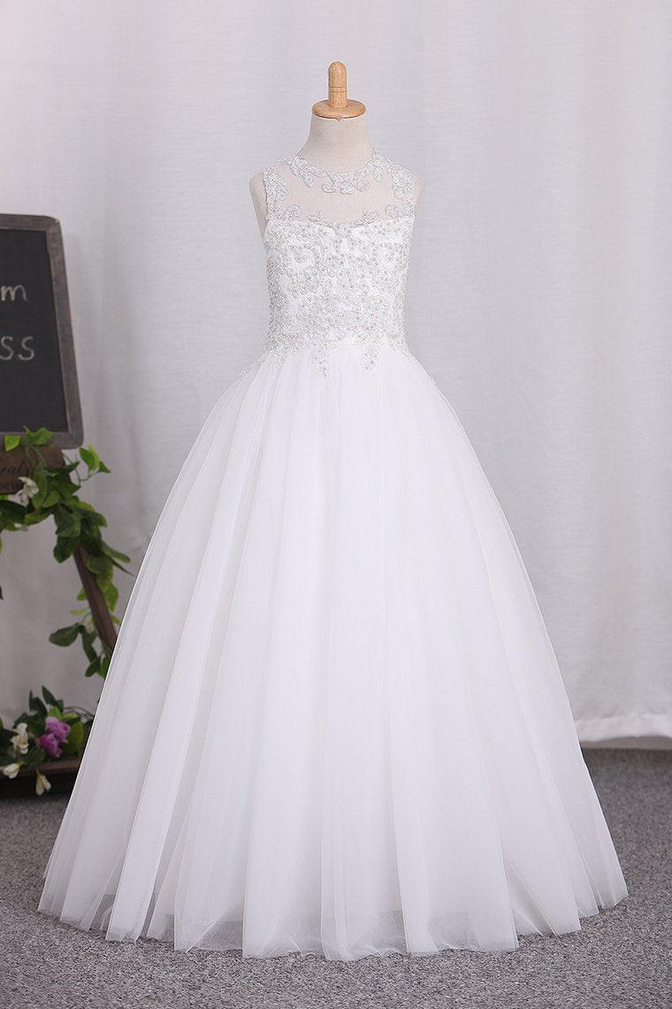 2019 New Arrival Scoop Tulle A Line Flower Girl Dresses With Applique And Beads
