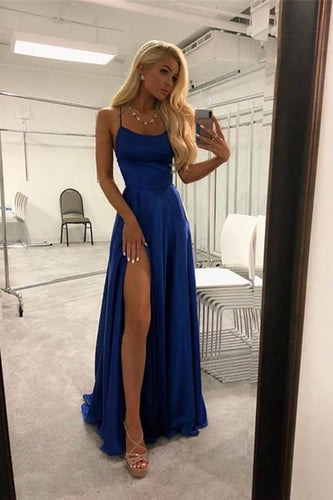 Spaghetti Straps Royal Blue Long Front Split Prom Dresses