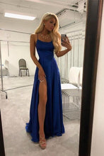 Load image into Gallery viewer, Spaghetti Straps Royal Blue Long Front Split Prom Dresses