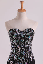Load image into Gallery viewer, 2019 Mermaid Beaded Bodice Chiffon With Slit Prom Dresses Sweep Train