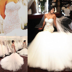 Stunning Mermaid Strapless Sweetheart Tulle Wedding Dresses with Appliques, Wedding Gowns SRS15439