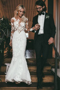 See Through Long Sleeve Mermaid Wedding Dresses Lace Applique Bridal Dress