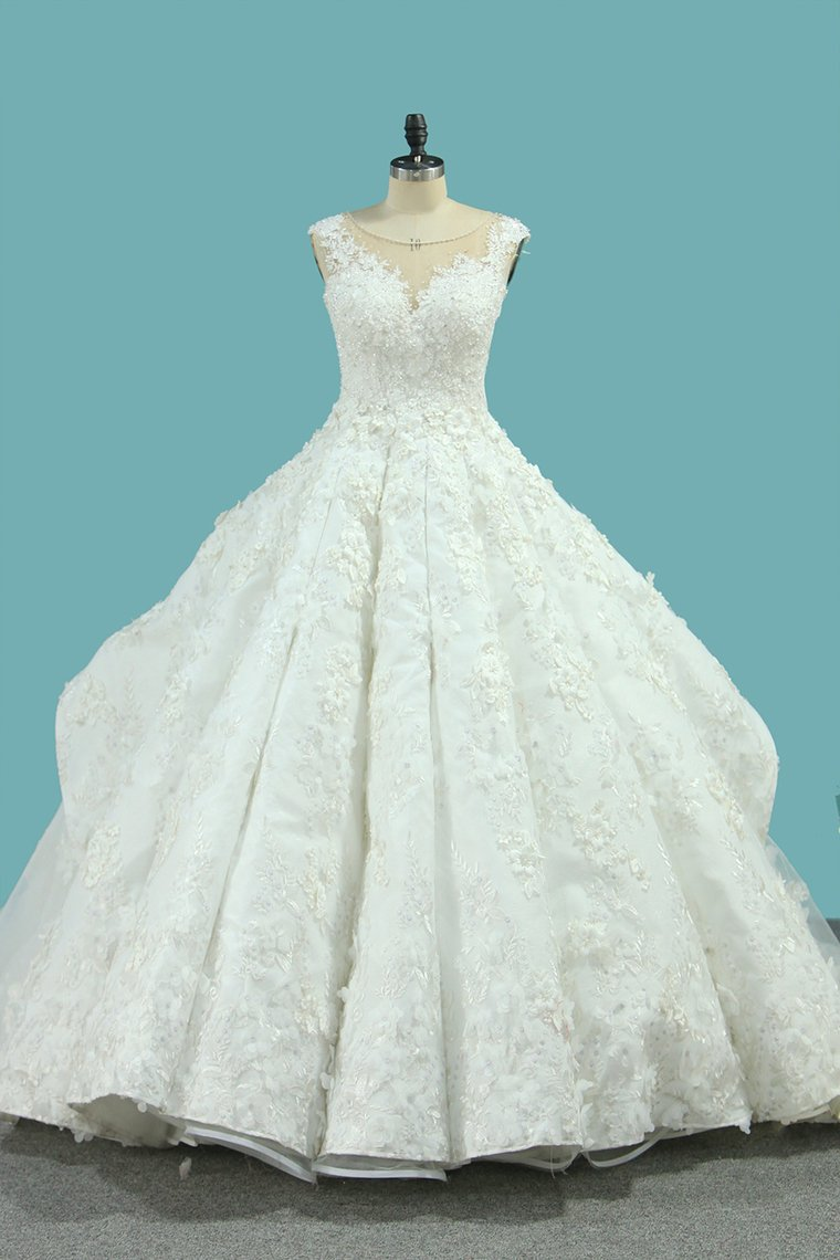 2019 Bateau Top Quality Lace Ball Gown Wedding Dresses Court Train
