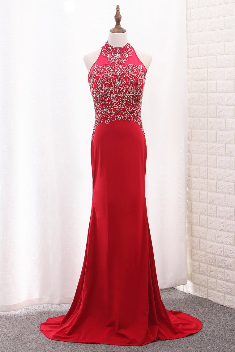 2019 Mermaid Spandex High Neck Prom Dresses With Beading Sweep Train