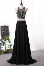 Load image into Gallery viewer, 2019 A Line Prom Dresses Scoop Beaded Bodice Chiffon Two Pieces