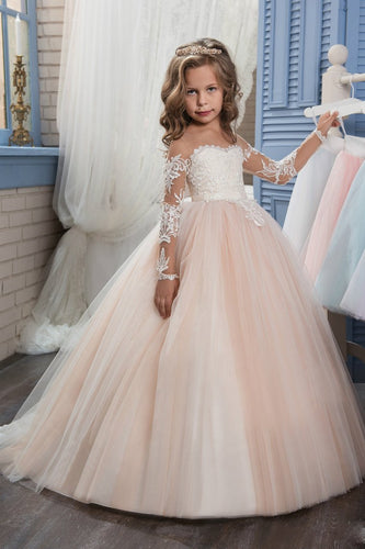 2019 Scoop Flower Girl Dresses Ball Gown Long Sleeves Tulle With Aplique
