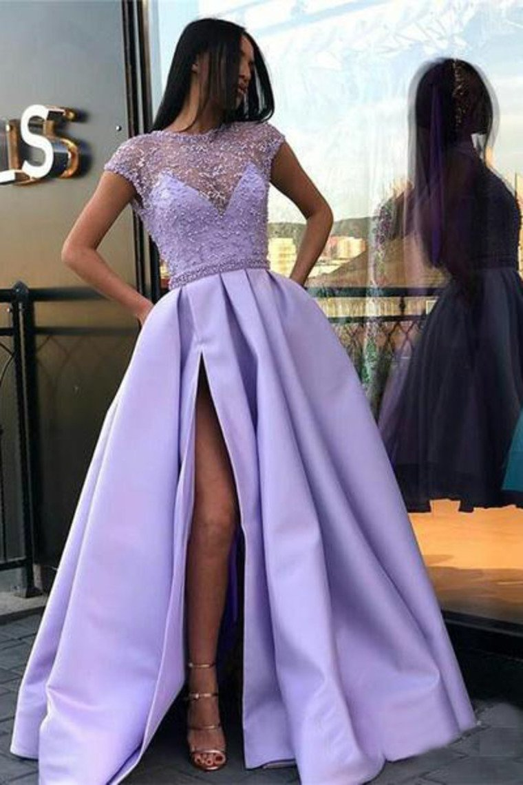 Lilac Long Prom Dresses With Slit Beaded See Through Cap Sleeve Prom Dress