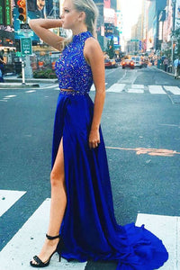 2 Pieces High Neck Royal Blue Beading Long Beautiful Prom Dresses For Teens