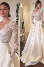 Load image into Gallery viewer, 2019 New Arrival Wedding Dresses A-Line V-Neck Long Sleeves Satin Skirt With Applique AndPockets