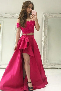 Pretty Two Pieces Ivroy Long Off The Shoulder Prom Dresses With Pockets