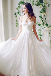 2019 Chiffon Off The Shoulder With Applique And Ruffles A Line Wedding Dresses