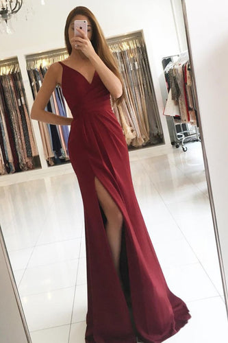 2019  Evening Dresses Mermaid V Neck With Ruffles And Slit