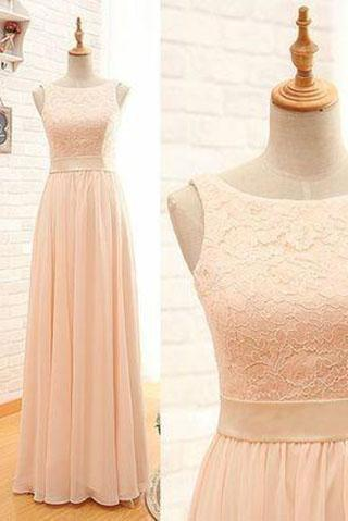 Blush Pink Lace Chiffon Scoop Sleeveless A-Line Zipper Floor-Length Long Bridesmaid Dresses RS34