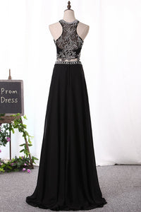 2019 A Line Prom Dresses Scoop Beaded Bodice Chiffon Two Pieces