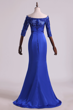 Load image into Gallery viewer, 2019 Evening Dresses Bateau Mermaid Satin With Applique And Beads