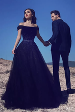 Load image into Gallery viewer, 2019 Tulle Prom Dresses A Line Off The Shoulder With Beading Sweep Train