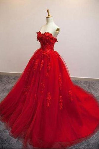 Red Ball Gown Tulle Strapless Generous Floral Fashion Quinceanera Prom Dresses RS548