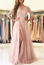 Load image into Gallery viewer, 2019 A Line Scoop 3/4 Length Sleeves Tulle With Applique Prom Dresses Sweep Train