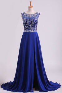 2019 Dark Royal Blue A-Line Bateau Sweep Train Chiffon&Lace Prom Dresses With Slit