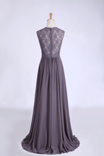 Load image into Gallery viewer, 2019 V-Neck A Line Bridesmaid Dresses Floor Length Lace & Chiffon