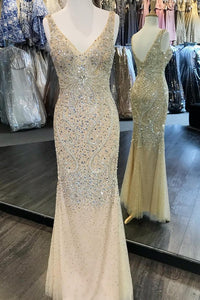2019 V Neck Tulle With Beading Floor Length Prom Dresses