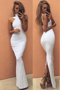 2019 New Arrival Evening Dresses Mermaid Spandex With Slit Floor Length