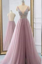 Load image into Gallery viewer, 2019 Fantastic Beaded Bodice Prom Dresses A Line Tulle Deep V-Neck