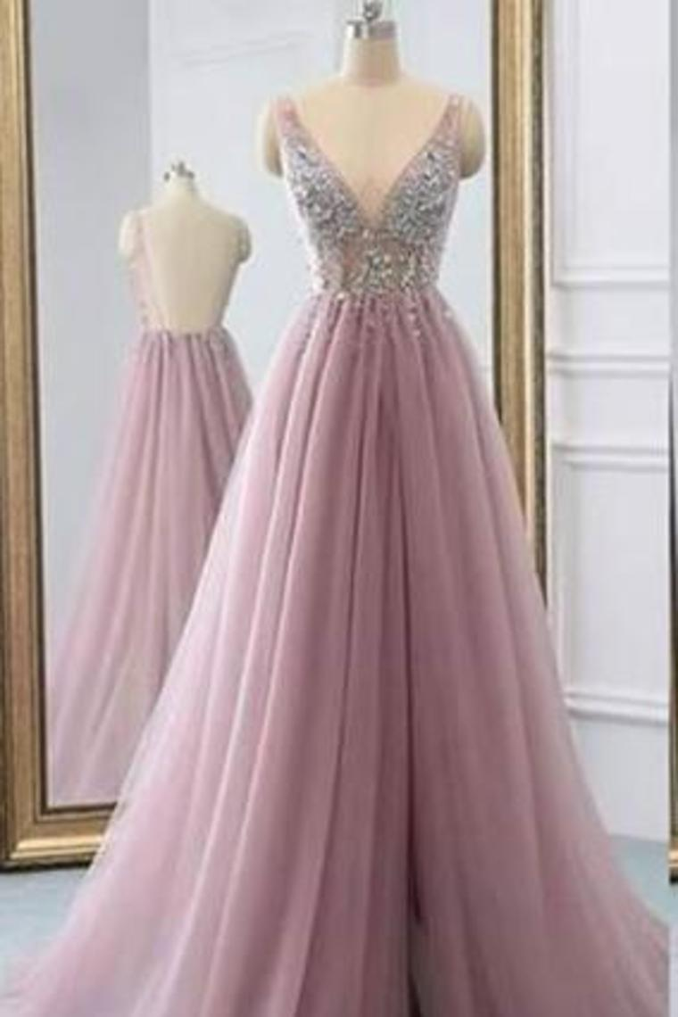2019 Fantastic Beaded Bodice Prom Dresses A Line Tulle Deep V-Neck