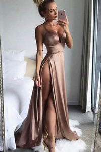 2019 Spaghetti Straps Prom Dresses Silk Like Satin With Slit