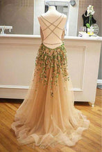 Load image into Gallery viewer, Criss Cross Back Appliqued Tulle Prom Dress With Ribbon
