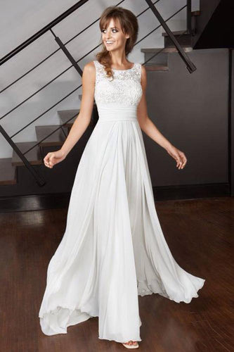 Elegant A Line Scoop Chiffon Ivory Long Appliques Beach Wedding Dresses with Lace RS971