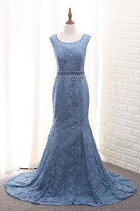 2019 Scoop Mermaid Lace Mother Of The Bride Dresses With Beads Sweep Train