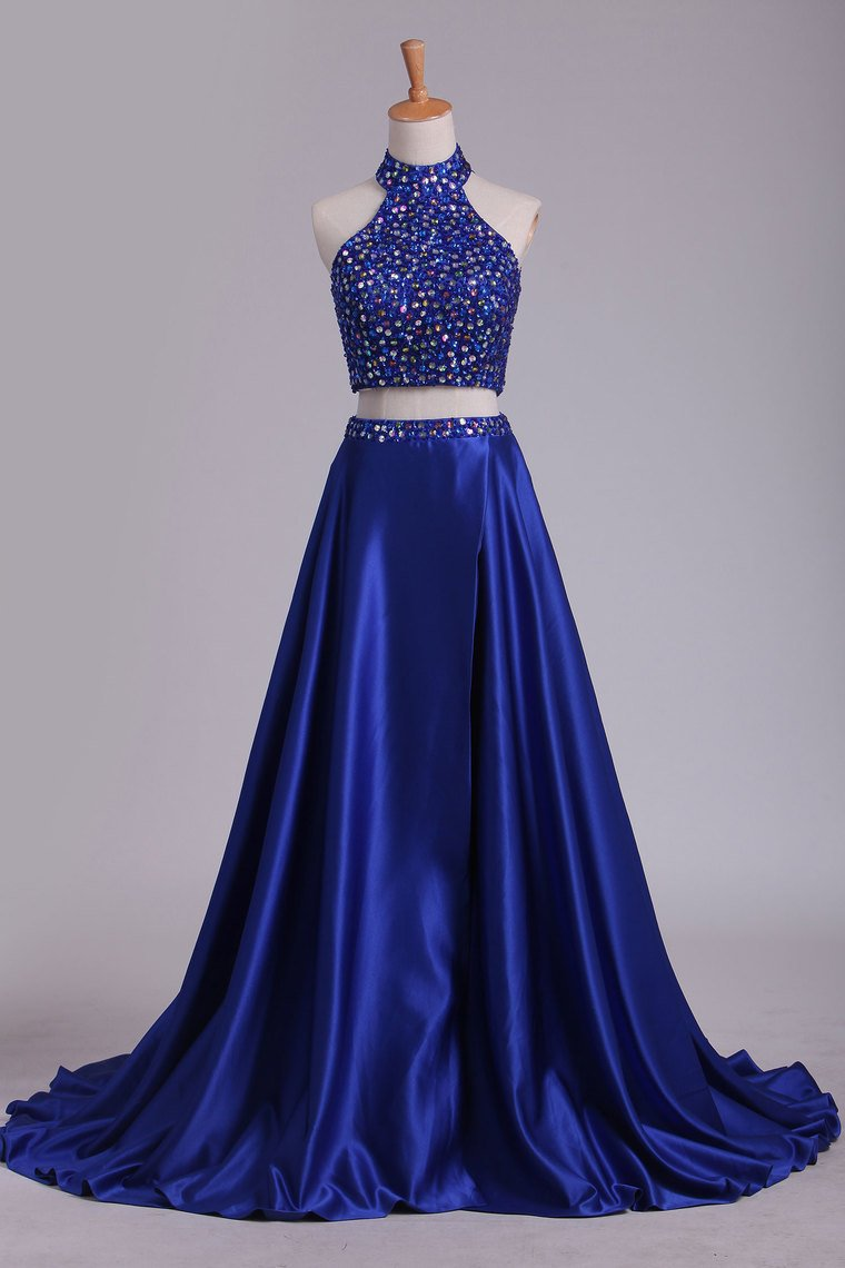 2019 Two Pieces High Neck Prom Dresses A Line Beaded Bodice Satin Dark Royal Blue
