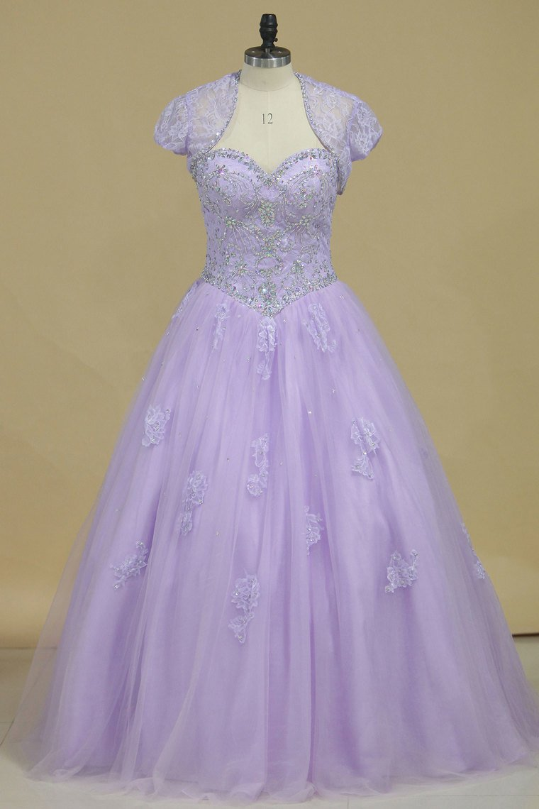 2019 Quinceanera Dresses Sweetheart Tulle With Beads And Jacket
